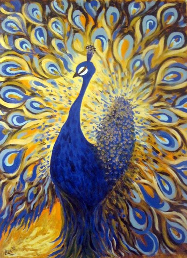 Original oil painting peacock blue gold by artonlinegallery for Gold paintings on canvas