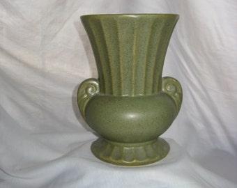 Vintage McCoy Floraline Moss Green Tall Art Pottery Vase