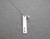 Personalized Silver Bar Necklace - Hand Stamped Name Necklace