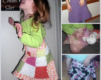 Amelia - a crochet skirt pattern, sizes toddler to adult 5x with finering, sport, dk, worsted or chunky weight yarn