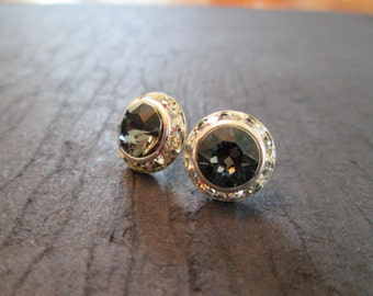 Grey Swarovski Crystal Stud Earrings/  Silver Night Swarovski Studs /Bridesmaid Earrings/ Wedding Jewelry/Swarovski Crystal Earrings/Bridal