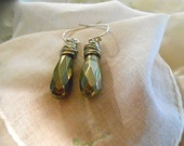 Pyrite Drop Earring Large Faceted Briolette Dangle Wire Wrapped Earthy   Gift Trending Colors