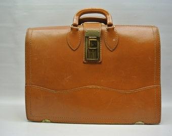 Vintage leather salesman bag or attache case