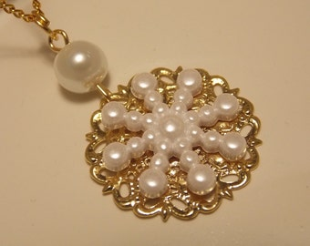 Gold and Pearl Snowflake Necklace