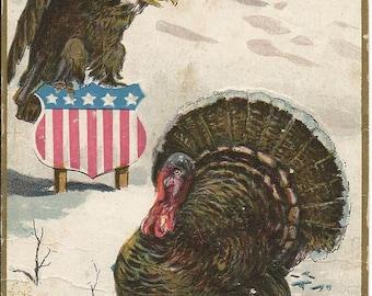 Wessler 1909 Vintage Thanksgiving Turkey American Eagle Postcard