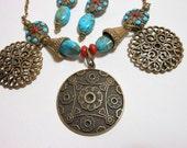 Tribal/Ethnic/Summer Sky Bronze Necklace & Earring Set