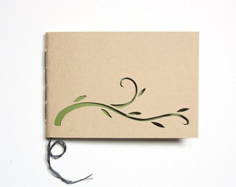 Mini Journal: Hand Cut Vine, Hand Bound--5 Hole Binding--Custom Lining Color