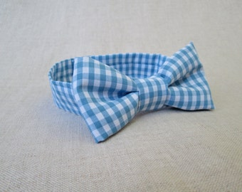 Boys Bow Tie - Classic Blue Plaid Bow Tie Newborn Photo Prop to 18 Month Boy Photography Prop - Baby Bow Tie - Blue Boys Gingham Bow Tie