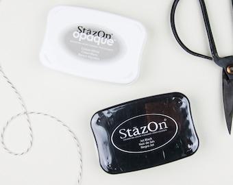 Tsukineko Stazon Ink Pad Black - Solvent Ink Pad - Stamp Pad - Leather Stamp Pad - Black Stamp Pad