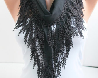 Black Scarf Cotton Scarf  Lace Scarf Headband Lace Edge Hair Accessory Fashion Women Accessories