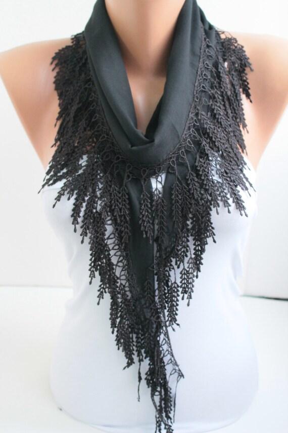 Black Scarf Cotton Scarf  Lace Scarf Headband Lace Edge Hair Accessory Fashion Women Accessories