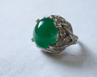 PANETTA Sterling Jade Cabochon and Rhinestone Ring 1950s Vintage