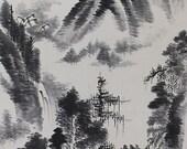 Japanese Fine Art Painting Inkwash Landscape Hanging Scroll kakejiku– 120557