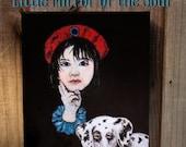 Original 9 x 12 Child-Dalmatian Fine Art Print -Dog Print, Children's Decor, Nursery room, Dalmatian, Black and White, Original Painting