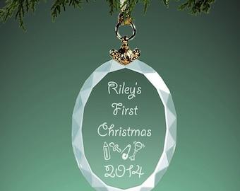 Babys First Christmas Crystal Christmas Ornament