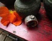 Rose Quartz & Sterling Silver Ring. Size 10.75. Unisex Large Ring. Vintage Ethnic Ring