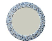 Round Mirror, Mosaic Wall Mirror, Blue Gray and Tan, Cottage Decor