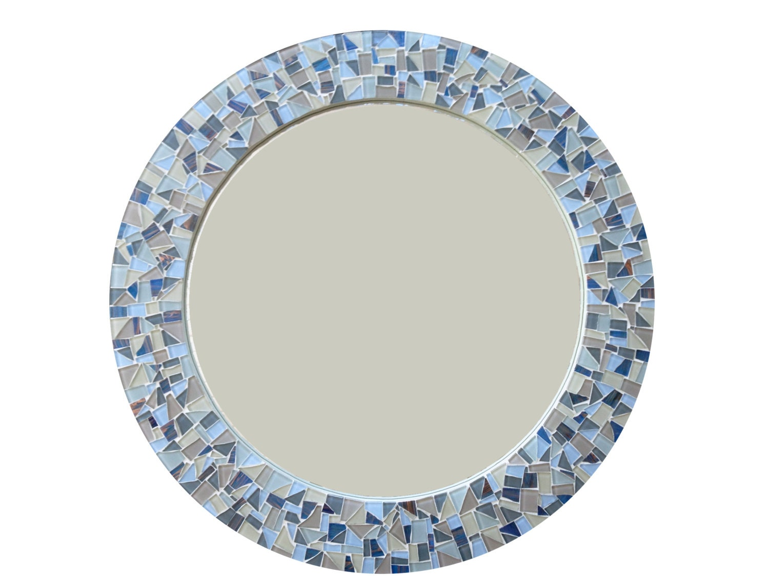 Round mirror mosaic wall mirror blue gray and tan cottage for Mosaic mirror