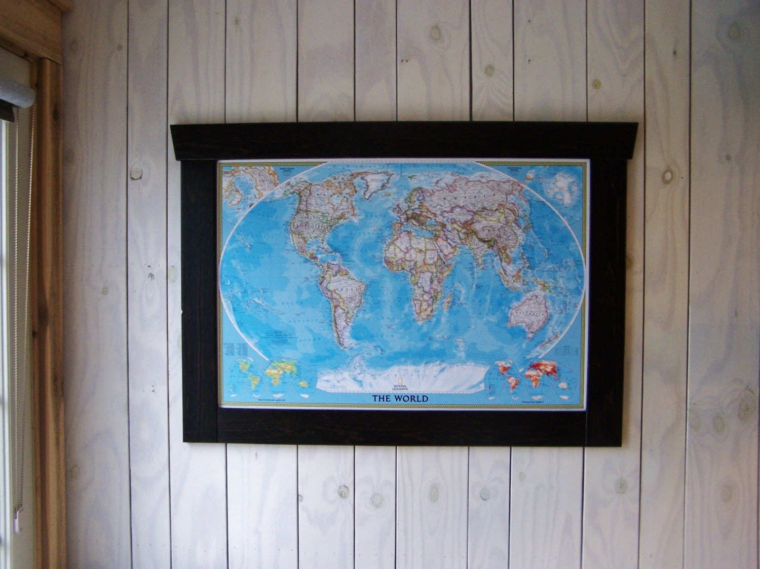 Framed Push Pin Map Large World Map 42 x by WhereTheRobinSings