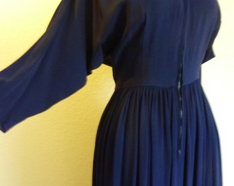 1940s Navy blue Rayon dress with front Metal zipper