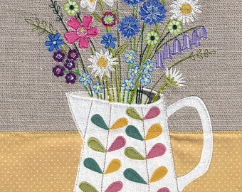 Floral fabric art work. A4 print of original textile illustration of flowers in a Orla Kiely jug. Applique and free motion embroidery.