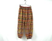 Vintage 90's Pants 80's Pants Hippie Pants Small Puffy Pants Boho Pants Boho Pants Puff Legs Pants Harem Small Medium Metallic Thread B2