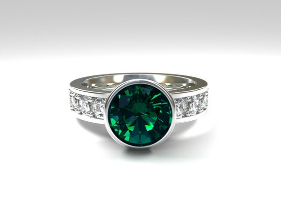 Teal tourmaline engagement ring white Sapphire Engagement