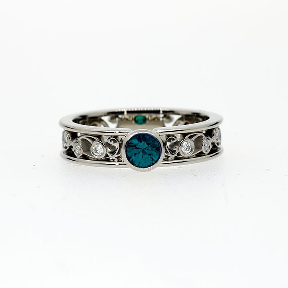 0 50ct Teal diamond filigree engagement ring with white