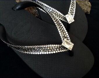 Custom Crystal Flip Flops Silver Night Gray w/ Swarovski Crystal Rhinestone Jewels Havaianas or Cariris Wedge Heel Beach Thong Sandal Shoes