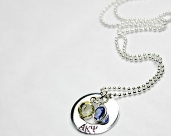 Greek Jewelry  Sorority Gift Handstamped Sterling Silver Infinity Mini Necklace for College Girls