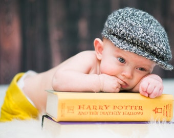 Newborn Baby Boy Hat Irish Donegal Cap Cream and Charcoal Newborn Baby Hat Irish Donegal Hat Newborn Photography Prop Baby Newsboy Cap