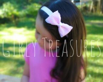 Lace and Light Pink Headband. Baby Headband. Girl Headband. Newborn Headband. Birthday Girl Headband. Photo Prop.