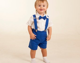 ring bearer outfits boy royal blue outfits boy shorts with suspenders bow tie shirt boy linen