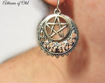 Pentacle Earrings Sterling Plated Filigree Crescent