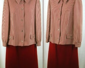 Vintage 60's pure virgin wool Red /White Stripe jacket with Red skirt suit dress medium