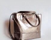 Metallic Gray Leather Tote Bag, Petrol Shoulder Bag, Gray Shopping Bag, Large Handbag, Everyday Bag, Casual Leather Tote Bag