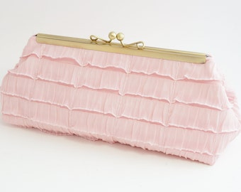 Blush Pink Bridal Clutch Purse - Wedding/Evening/Bridesmaid Bag -Includes Crossbody Chain - Ready to Ship