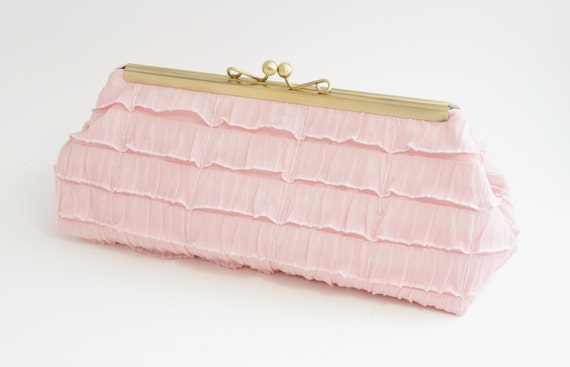 Blush Pink Bridal Clutch Purse - Wedding/Evening/Bridesmaid Bag -Includes Crossbody Chain - Ready to Ship