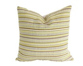 Striped Pillow Covers in Chartreuse, Chocolate Brown and Stone Grey