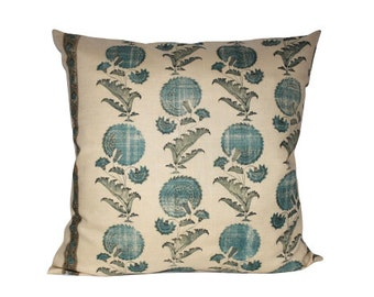Jasper Michael Smith Indian Flower Pillow Cover in Turquoise