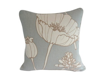 Designer Accent Pillow Cover, Blue Linen with Ivory Piping, Kravet