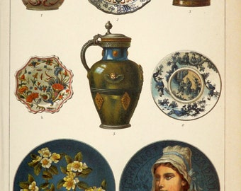 1897 Antique print of FAIENCE POTTERY. Tin-glazed Pottery. Stoneware. 118 years old print.
