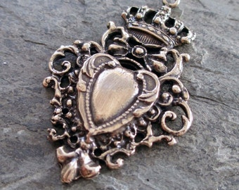 bronze shield crown heart with bow filigree pendant medal or large charm art nouveau royal french valentine