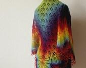 Handknitted lace shawl - rainbow shawl