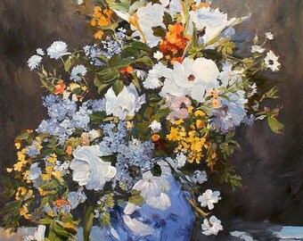 Oil Painting Flower Bouquet in Vase Hand Painted Flowers Art on Canvas