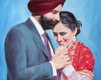 1st Anniversary Gift Idea - Custom Portrait Painting from Your Photo Oil on Canvas