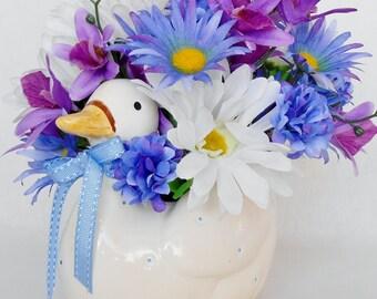 Silk Floral Arrangement, White Daisies, Blue with Purple Daisies, Duck Vase, Baby Boy Flowers, Artificial Flower Arrangement, Silk Flowers
