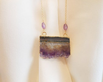 SALE! SALE! Amethyst Shard on Long Chain Necklace