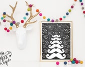 INSTANT DOWNLOAD, Christmas Moustache Digital Art Printable, No. 155