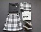 S - Vintage grey tartan wool kilt skirt and matching scarf, 70' - Upcycled